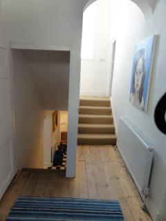 Entrance lobby - stairs to lower ground floor and 1st floor