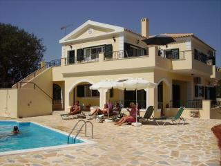 The front of the Villa Michelee with swimming pool and sunbathing area