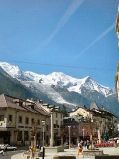 Chamonix centre with Mt Blanc view
