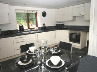 Fully fitted spacious kitchen with beautiful valley views from the dining table