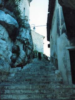 Steps up to Biot village if walking