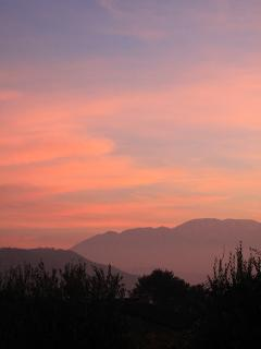 Beautiful evening sunset over the mountains