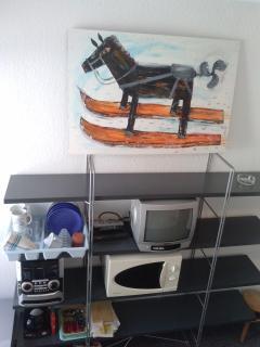 Interior del estudio, estantería con microondas, televisión, cafetera, menaje del hogar.