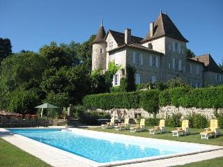 Heated Swimming Pool at Château de Lamostonie