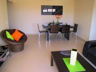 Living area with large TV, DVD and unlimited Wifi for high speed internet access.