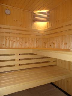 sauna has its own separate shower as well