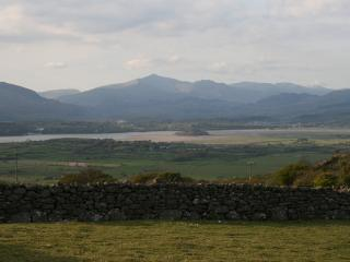 Stunning views from garden across estuary to Snowdon