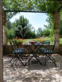 The vine-covered veranda where you can have breakfast in the morning together