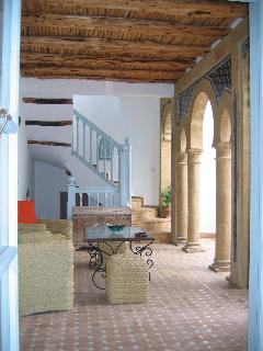 First floor covered terrace, the riad is recently built but using traditional methods and materials.