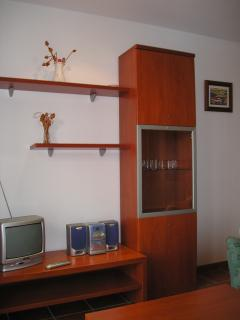Tall drinks cabinet, TV with UK channels DVD player, CD