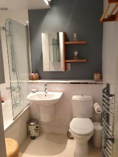 Bathroom with bath and shower over bath and toilet and wash basin.