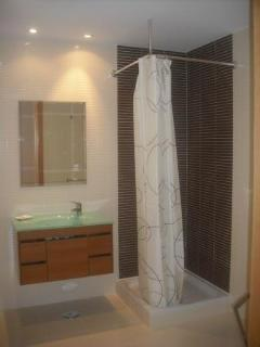 A view of the family shower room.