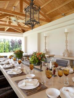 Outdoor Dinner Table by the pool for 14 guests