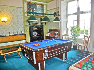 Our games room has a pool and football tables, D.V.D and Book libruary, lots of Toys and games