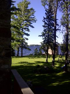View from side of back deck to shore