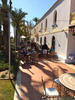 Alfresco dining In the Hacienda Gardens