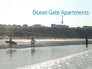 Ocean Gate apartments are right next to Fistral Beach