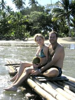 A bamboo raft & a coconut, relax Fiji style
