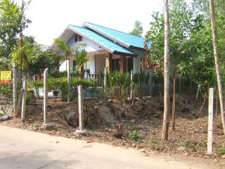 Bungalow from road, just 200m from beach.