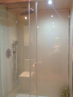 Large shower with instant hot water