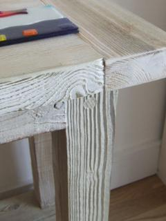 Some furniture is made from reclaimed timber from Rye Harbour