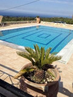 The pool, looking out over Souda Bay