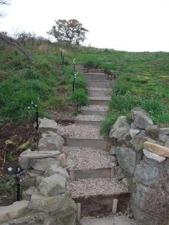 steps up to the shepherds' hut