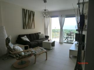 Living room is bright, inviting with the view of the ocean thru the sliding glass doors