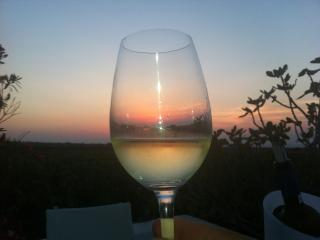Sunset (through a glass of wine) house, Oia