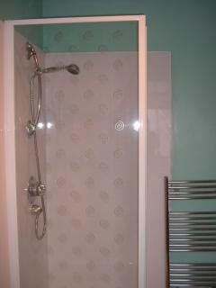 Bathroom: has bath, wash basin,shaver point & shower