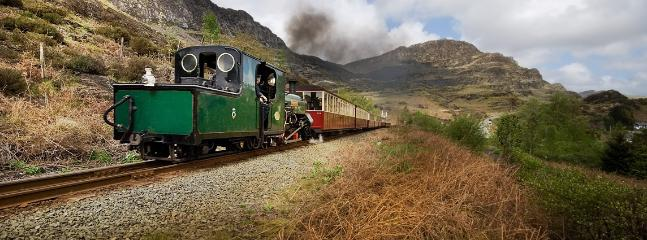 The Blaenau Ffestiniog steam train busy on its way
