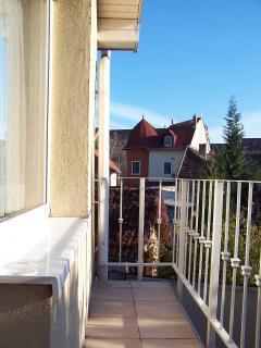 balcony, facing to the inside garden