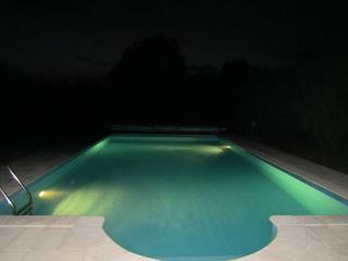 Heated pool at night :)