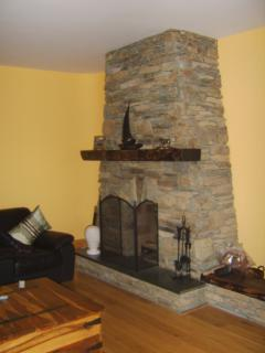 Stone fireplace sittingroom