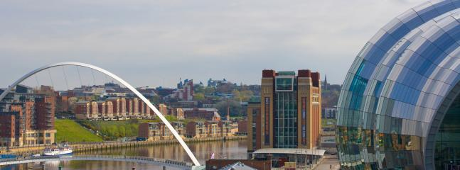 The Baltic art gallery and the Sage Gateshead on the Newcastle Gateshead Quayside