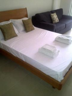 Large bed and bed settee available for a comfy stay