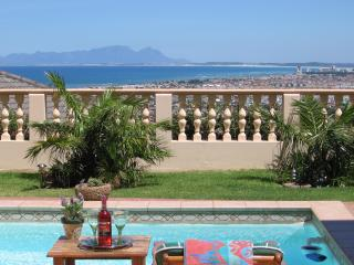 View across False Bay from Highcliffe House pool and patio