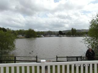 view from the south facing balcony,over the lake to the Brendon Hills