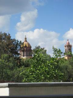 View of Las Monjas from covered terrace.
