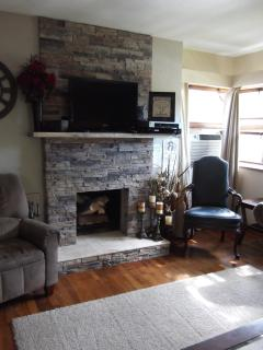 Wood burning fireplace, living-room area