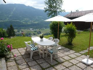 Samoens from the house, West terrace