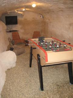 Table football, TV/DVD player in cellar games room