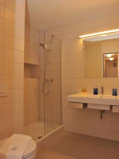 Apartment Bor - bathroom with a shower, a sink and a toilet