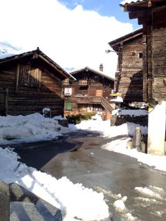 Access to the chalet through typical valais village