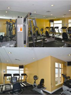 Well-equipped gym overlooking the ocean - yes, you can stay fit on vacation!!