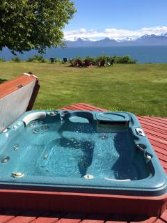 Our shared hot tub is located on the deck adjoining the two cottages