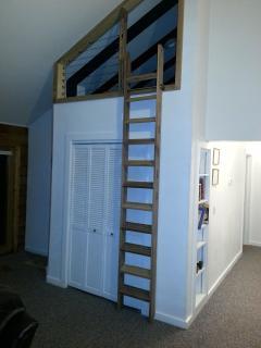 Loft ladder in stored position.