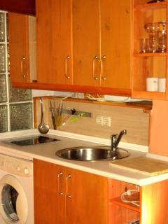 cocina integrada en el estudio con lavadora, inducción microondas, etc.