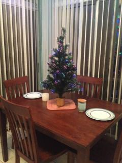 Florida Room--Dining Table at Christmas