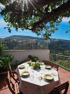 main terrace, overlooking the little town of Seiano, the bay and the island of Ischia